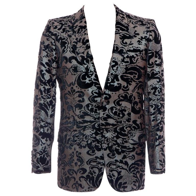Tom Ford for Gucci Runway Damask Velvet Men's Tuxedo Blazer, Spring 2000 For Sale