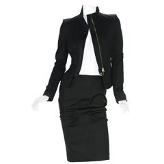 Tom Ford for GUCCI Runway F/W 2004 Collection Black Dress Skirt Suit It 42 US 6
