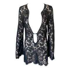 Tom Ford for Gucci S/S 1996 Runway Plunging Sheer Lace Black Tunic Mini Dress