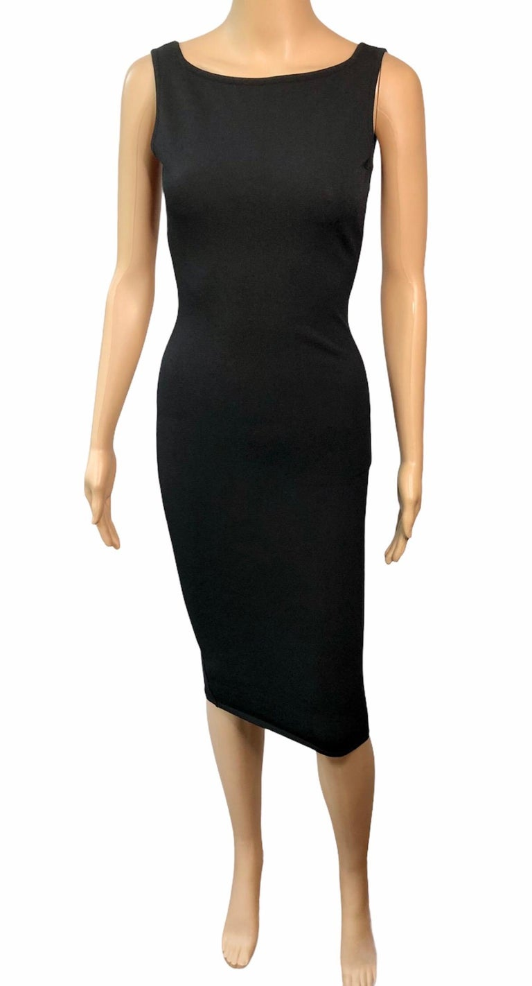 Tom Ford for Gucci S/S 1998 Bodycon Cutout Back Buckled Knit Black Midi Dress IT 40