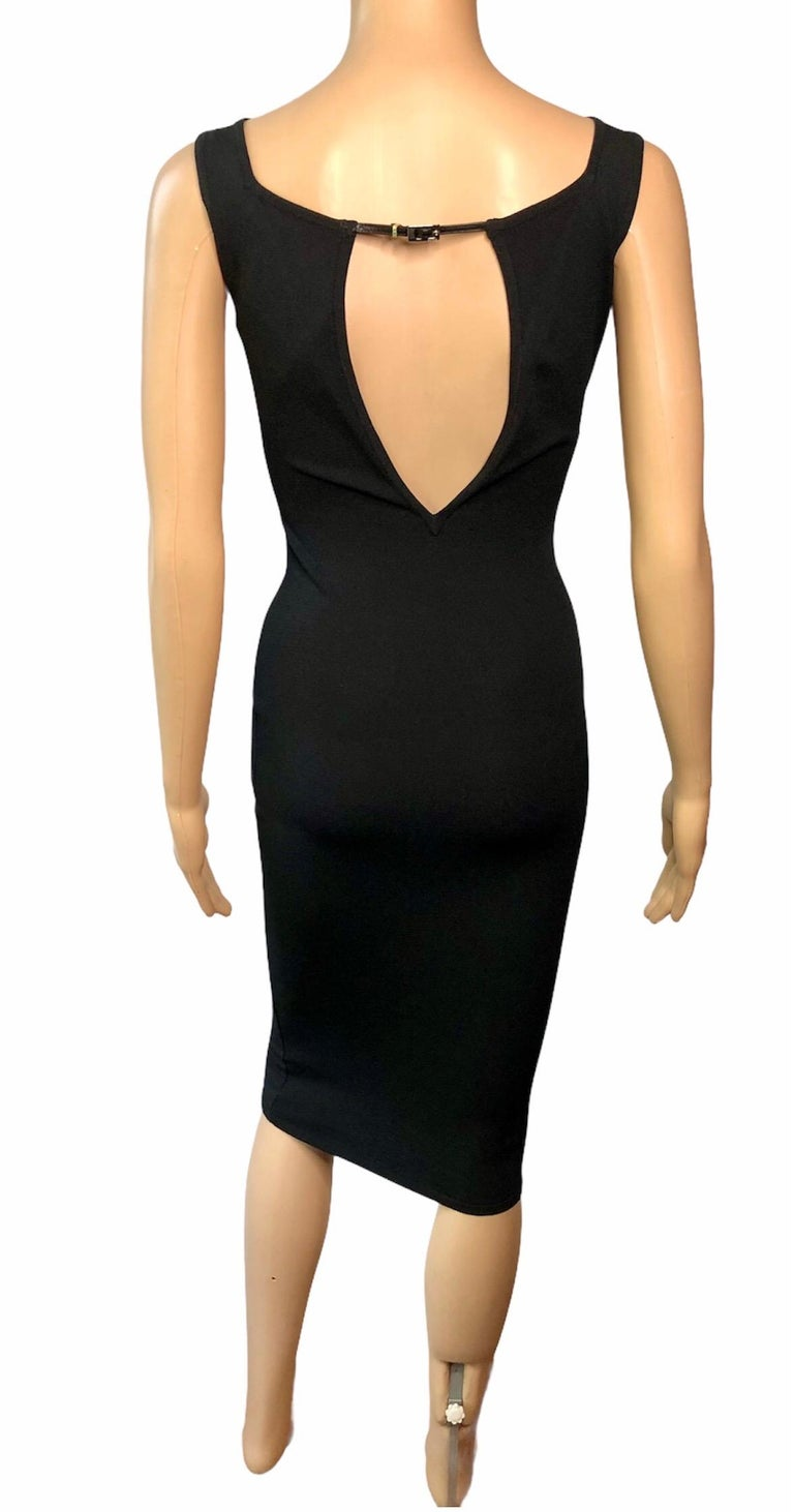 Tom Ford for Gucci S/S 1998 Bodycon Cutout Back Buckled Knit Black Midi Dress In Excellent Condition For Sale In Totowa, NJ