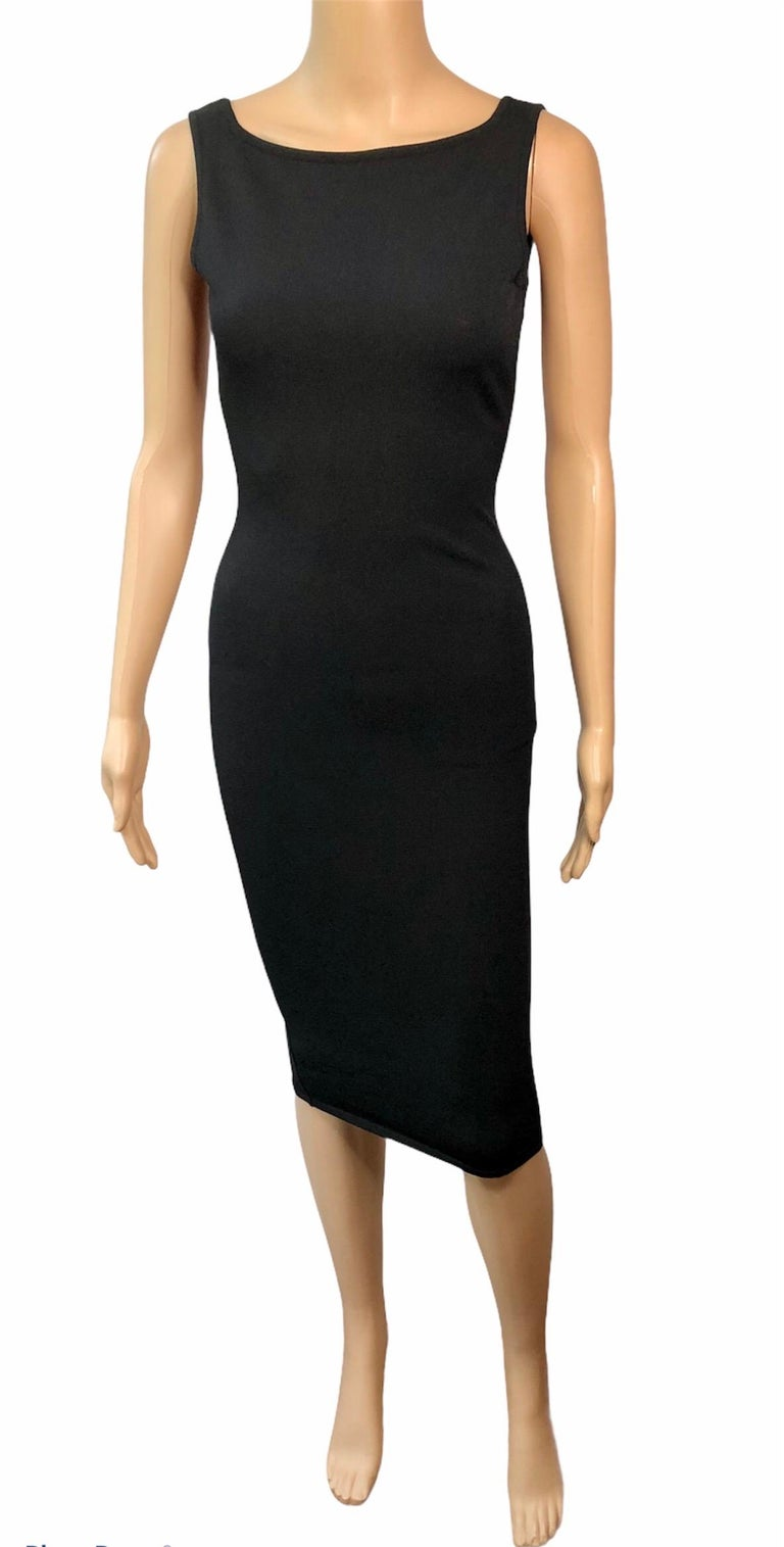Women's Tom Ford for Gucci S/S 1998 Bodycon Cutout Back Buckled Knit Black Midi Dress For Sale