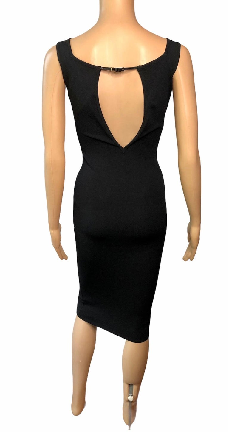 Tom Ford for Gucci S/S 1998 Bodycon Cutout Back Buckled Knit Black Midi Dress For Sale 1