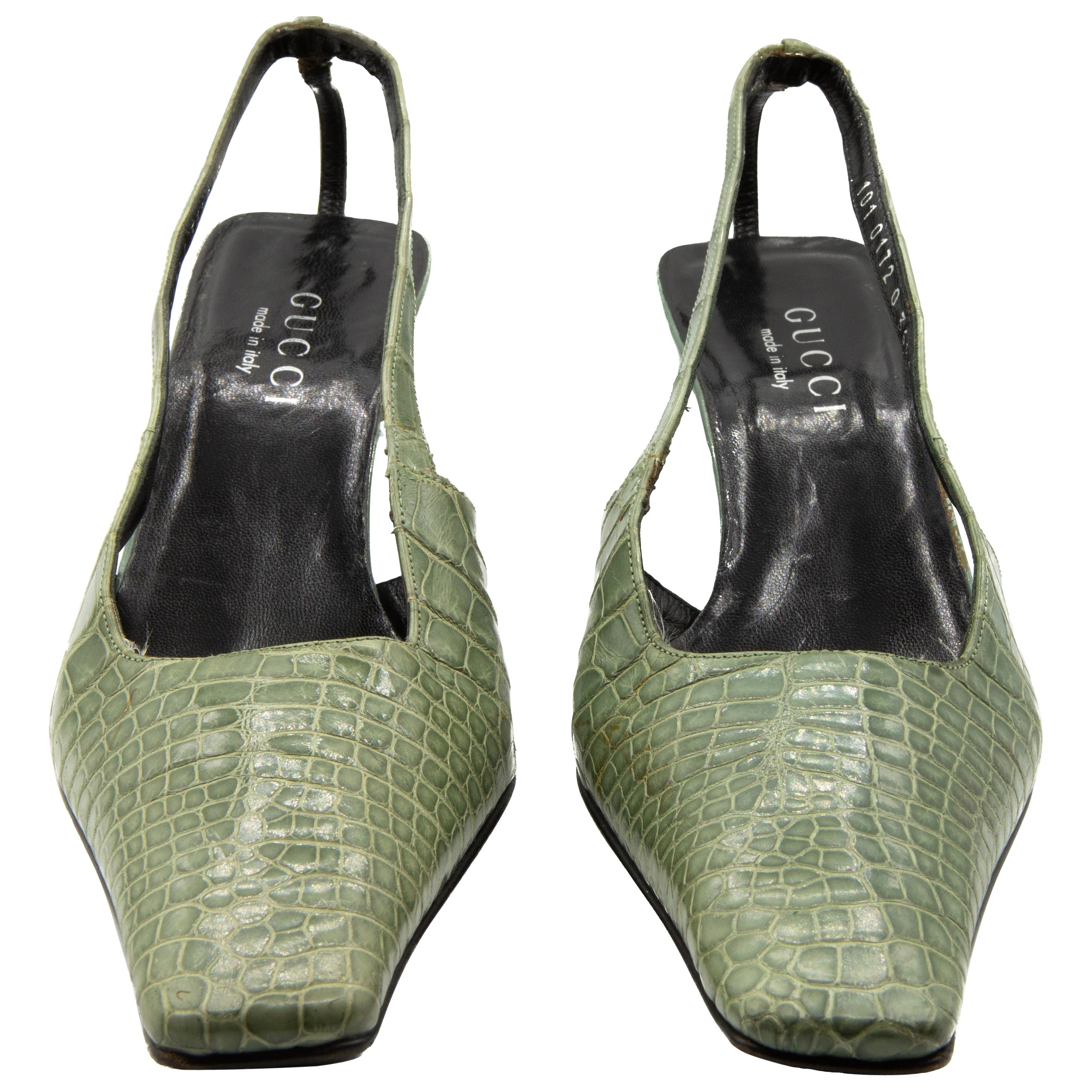 Tom Ford for Gucci S/S 1998 Green Crocodile Mules