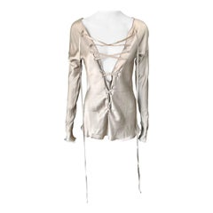 Tom Ford for Gucci S/S 2002 Plunging Neckline Lace Up Blouse Top