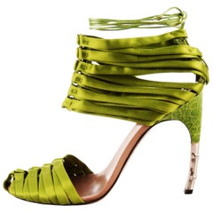 TOM FORD for GUCCI S/S 2004 Green Crocodile Satin Corset Shoes Sandals 9 - It.39