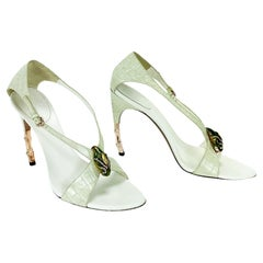 Tom Ford for Gucci S/S 2004 Oyster Color Alligator Jeweled Bamboo Shoes 9 B  39