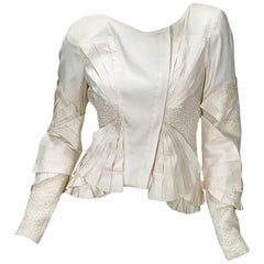 Tom Ford for Gucci S/S 2004 Silk Off-White Color Fan Pleated Jacket It 40 - US 4