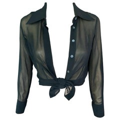 Tom Ford for Gucci Sheer Silk Long Sleeve Black Blouse Shirt Top