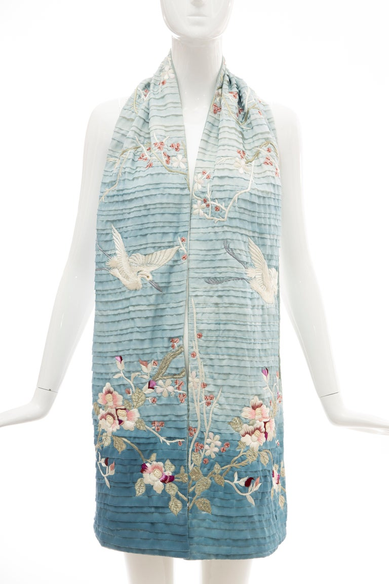 Gray Tom Ford for Gucci Silk Ombré Embroidered Scarf, Spring 2003 For Sale