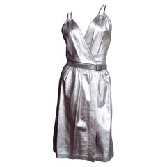 Tom Ford for Gucci Silver Leather Backless Dress