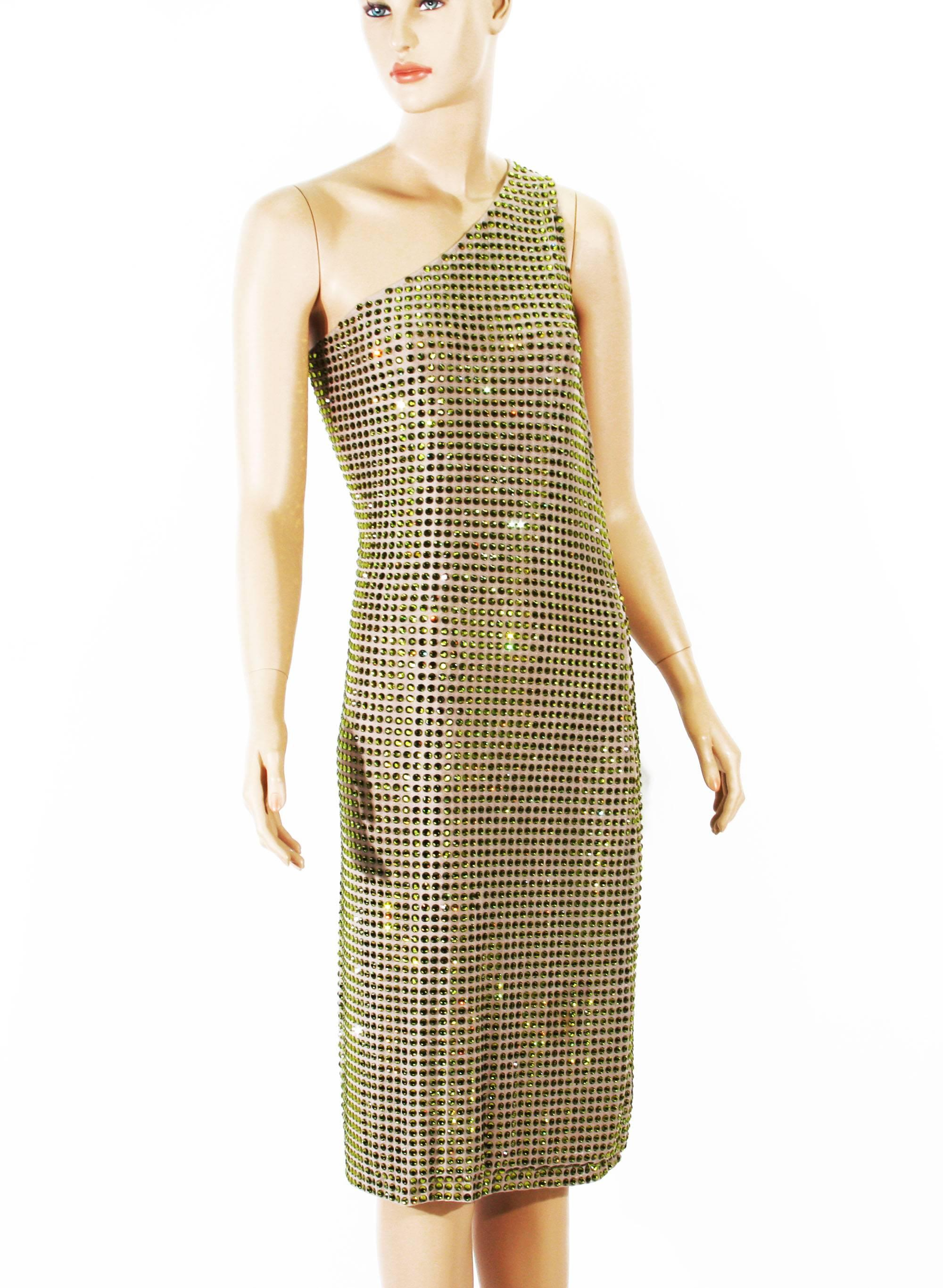 4192bff6e5 Tom Ford for Gucci SS 2000 Runway Fully Crystal Embellished Open Back Dress  42 For Sale at 1stdibs