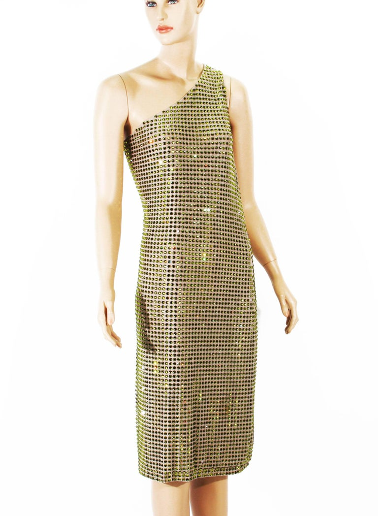 Beige Tom Ford for Gucci SS 2000 Runway Fully Crystal Embellished Open Back Dress 42
