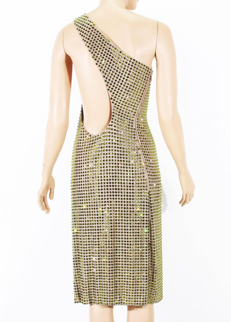 Tom Ford for Gucci SS 2000 Runway Fully Crystal Embellished Open Back Dress 42 In Excellent Condition In Montgomery, TX