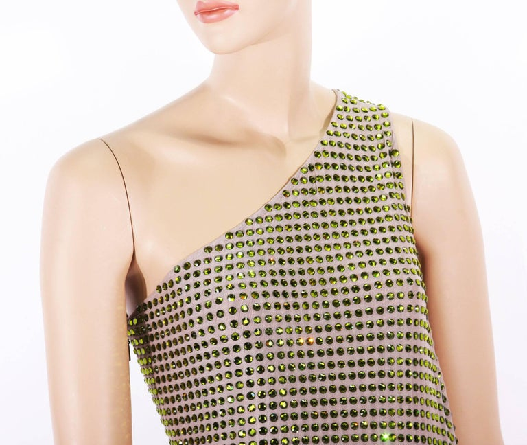 Women's Tom Ford for Gucci SS 2000 Runway Fully Crystal Embellished Open Back Dress 42