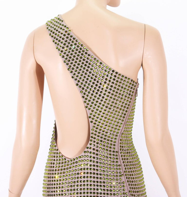 Tom Ford for Gucci SS 2000 Runway Fully Crystal Embellished Open Back Dress 42 1