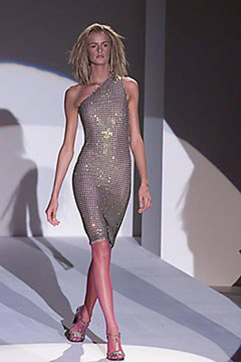 Tom Ford for Gucci SS 2000 Runway Fully Crystal Embellished Open Back Dress 42 2