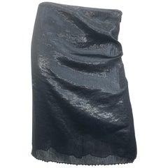 Tom Ford for Gucci Sz 46 10 / 12 1990s Gunmetal Beaded Silk Vintage 90s Skirt