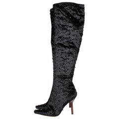 Tom Ford for Gucci Velvet Beaded Over-knee Boots - black 1990S