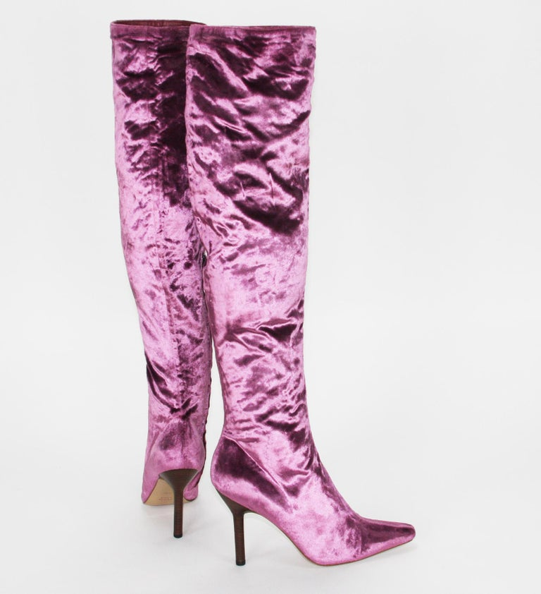 Tom Ford for Gucci Pink Velvet Over the Knee Boots Vintage F/W 1999 Collection Designer size 7 1/2 B Sexy and Elegant Style, Rare Pink Color Velvet, Partly Zip Closure, Pointed Toe-Line, Fully Lined, Leather Sole. Measurements: Total Height from the