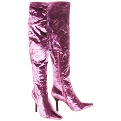 Tom Ford for Gucci Vintage F/W 1999 Pink Velvet Over Knee Boots 7.5 B