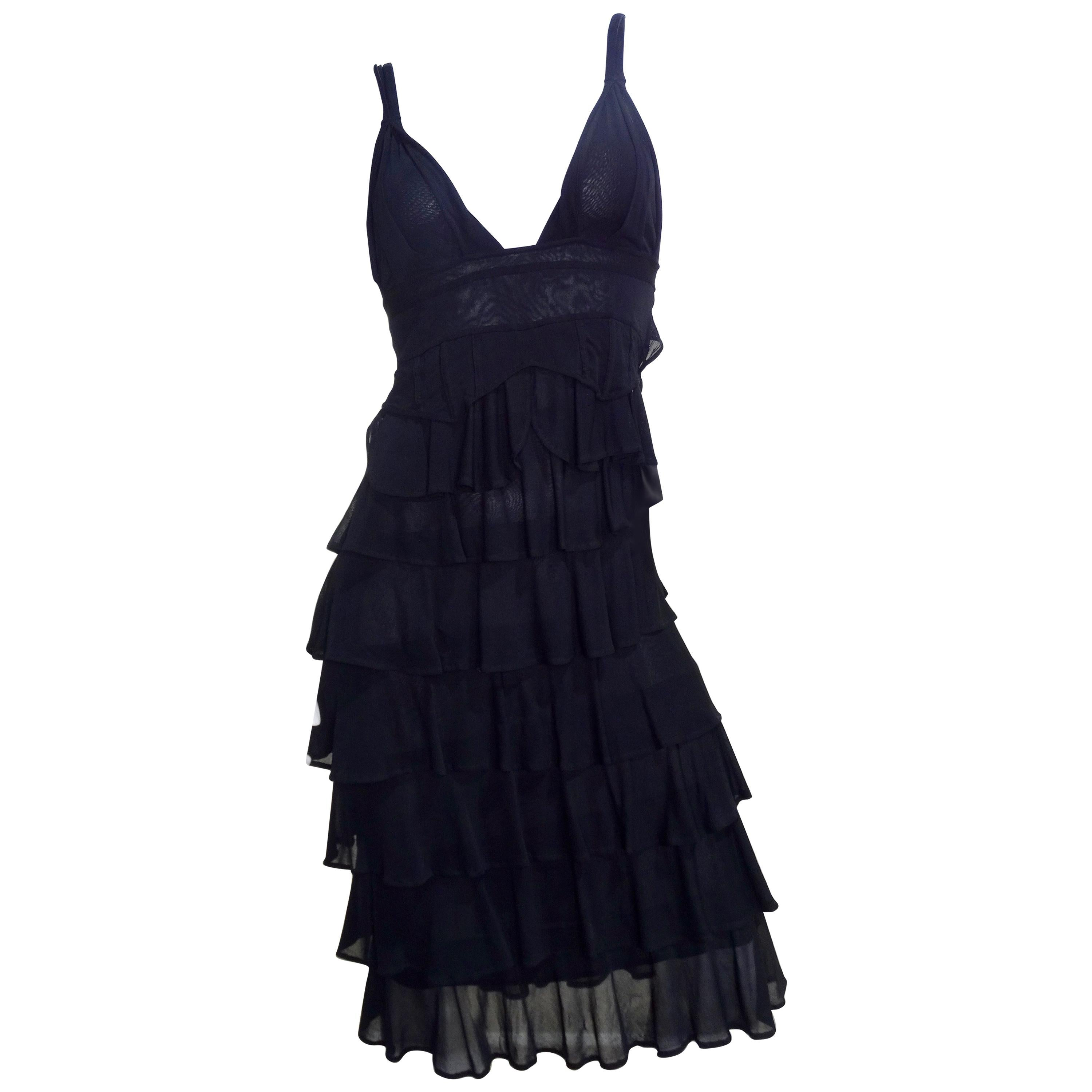 Tom Ford For YSL 2003 Sheer Ruffle Cocktail Dress