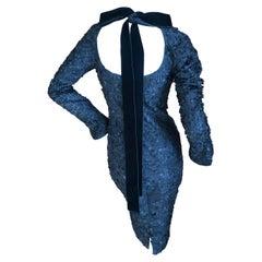 """Tom Ford for Yves Saint Laurent Backless """"Sequin"""" LBD with Velvet Tie"""
