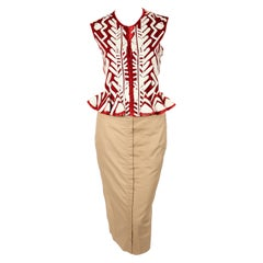 TOM FORD For YVES SAINT LAURENT claret embroidered runway jacket and skirt, 2002