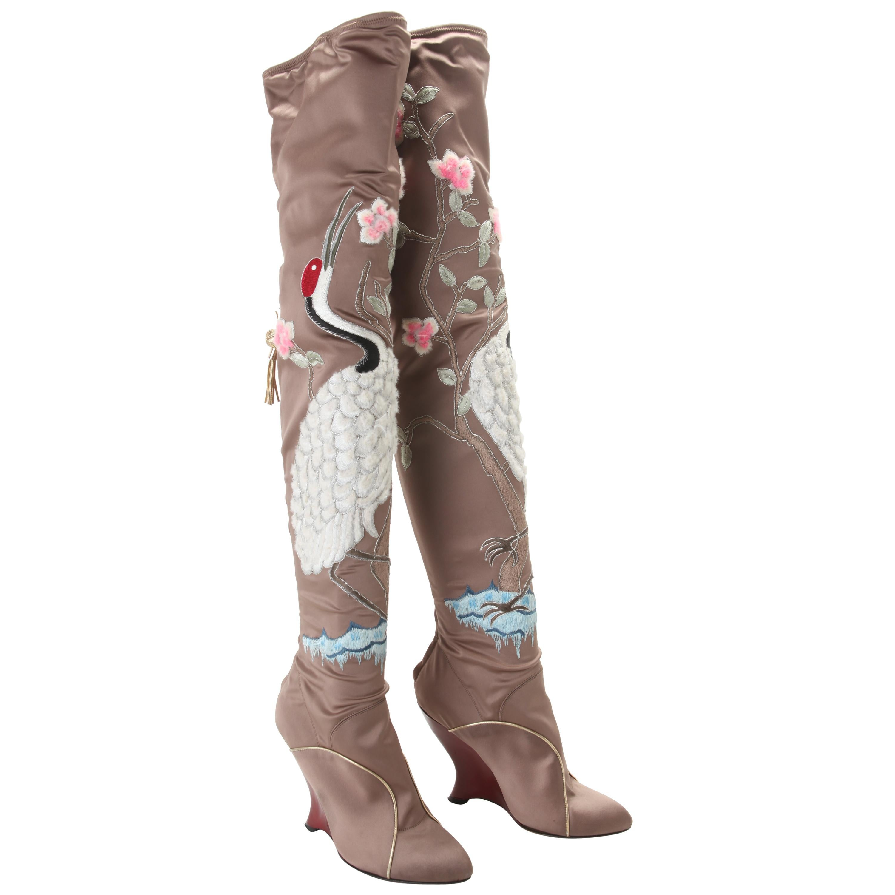 Tom Ford for Yves Saint Laurent Embroidered Satin Boots Fall 2004 EU 40