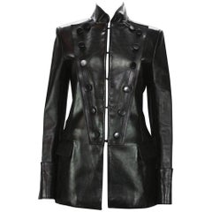 Tom Ford for Yves Saint Laurent F/W 2001 Leather Military Jacket It 40 - US 4