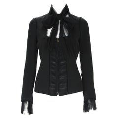 Tom Ford for Yves Saint Laurent F/W 2002 Black Silk Tulle Jacket Blazer 36, 38