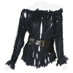 Tom Ford for Yves Saint Laurent F/W 2002 Top Blouse with Tom Ford Peplum Belt