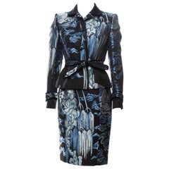 Tom Ford for Yves Saint Laurent F/W 2004 Chinoiserie Jacquard Skirt Suit Fr 38