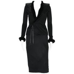 Tom Ford for Yves Saint Laurent F/W 2004 Jersey Skirt Suit with Mink size S