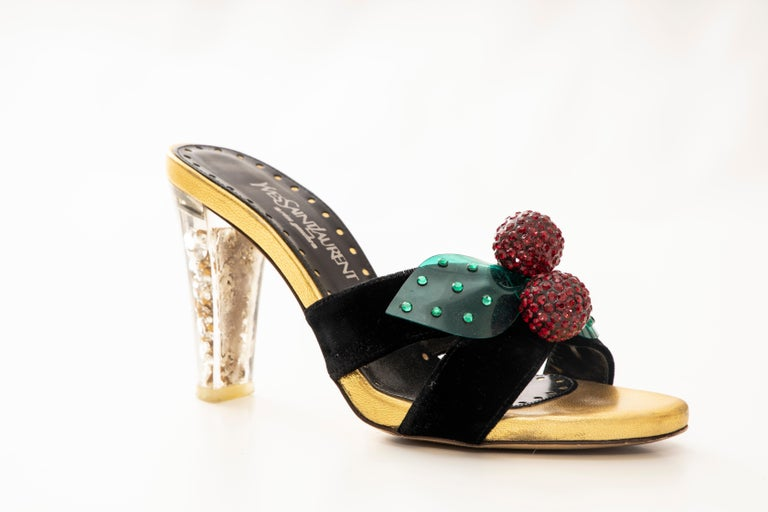 Tom Ford for Yves Saint Laurent Runway Fall 2003 black velvet sandals with crossover accents and detachable embellished cherry accents at vamps featuring jewel embedded lucite heels.  Includes box.  IT. 37, US. 7 Heels: 3.5