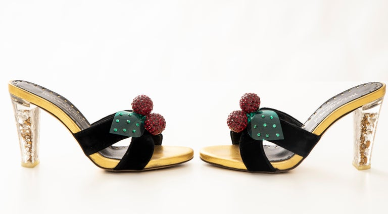 Tom Ford for Yves Saint Laurent Runway Black Velvet Cherry Sandals, Fall 2003 In Good Condition For Sale In Cincinnati, OH
