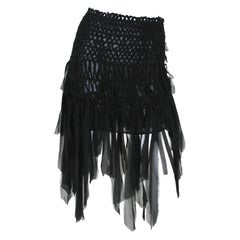 Tom Ford for Yves Saint Laurent S/S 2002 Mini Black Silk Woven Fringe Skirt M