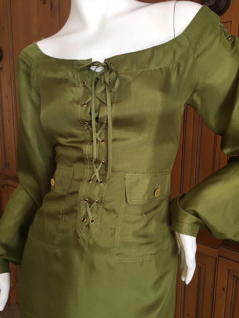 Tom Ford for Yves Saint Laurent Silk Safari Dress In Excellent Condition For Sale In San Francisco, CA
