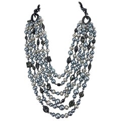 Tom Ford for Yves Saint Laurent Silver Gunmetal Pearls Rhinestones Necklace YSL