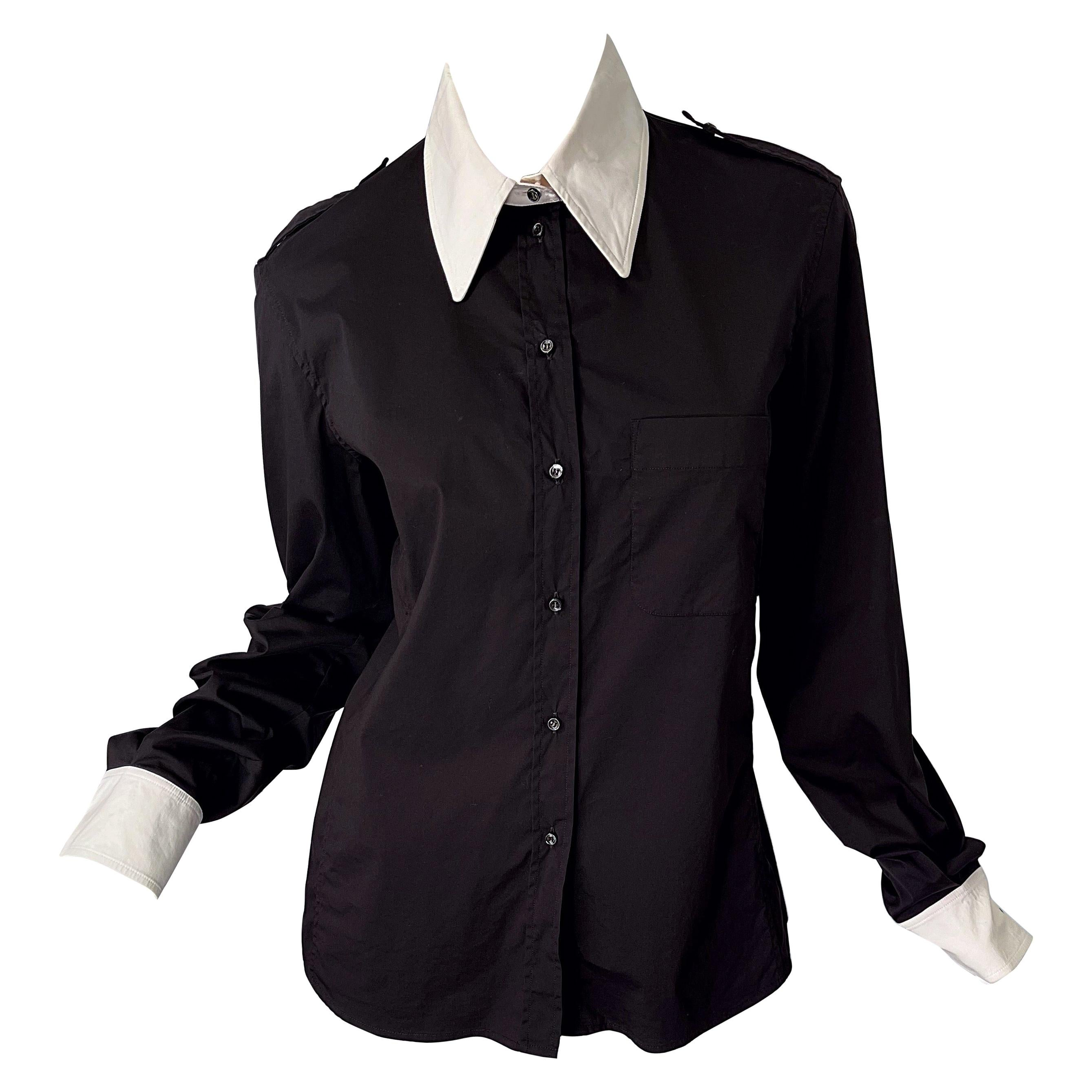 Tom Ford for Yves Saint Laurent Size 44 / 12 Black and White Early 2000s Blouse