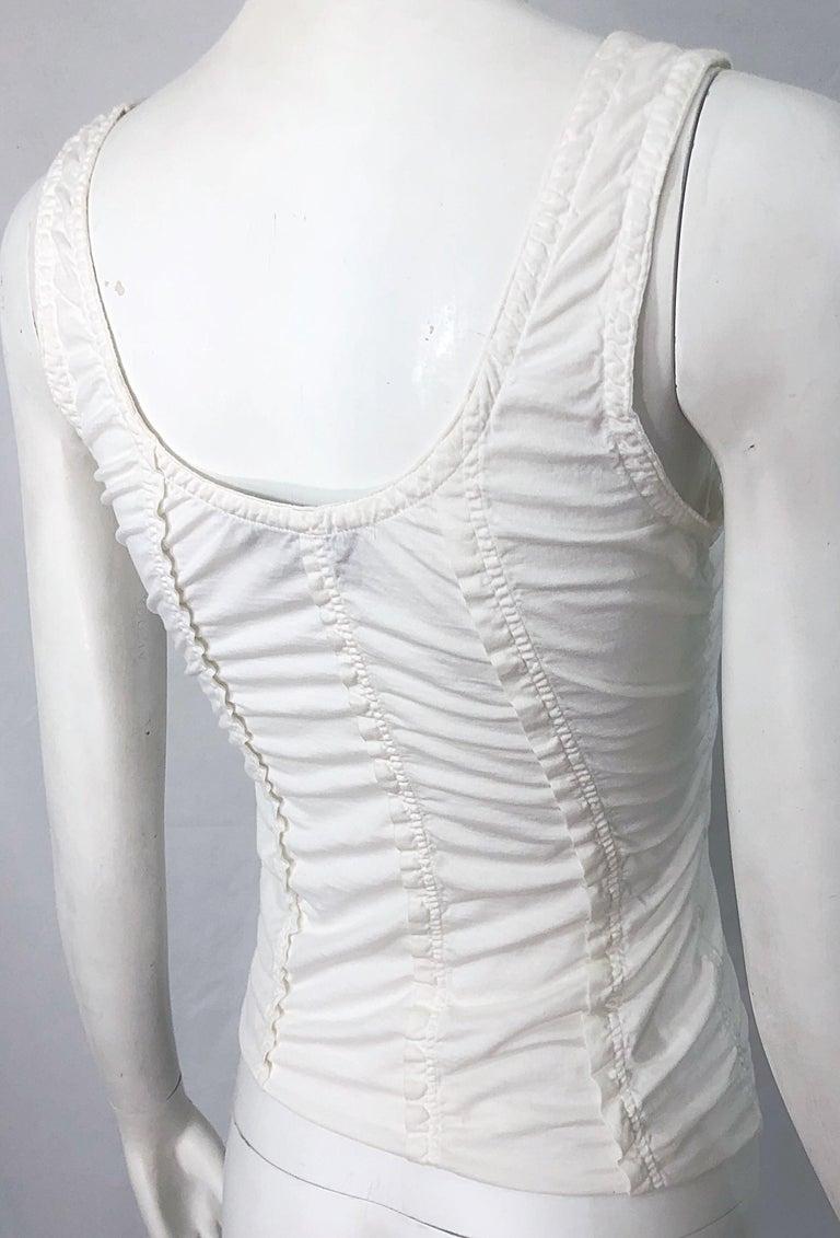 Tom Ford for Yves Saint Laurent White Cotton Ruffled Tank Top Shirt Blouse YSL For Sale 6