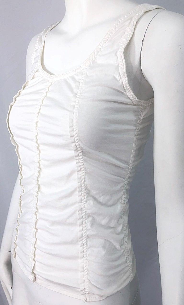 Tom Ford for Yves Saint Laurent White Cotton Ruffled Tank Top Shirt Blouse YSL For Sale 7
