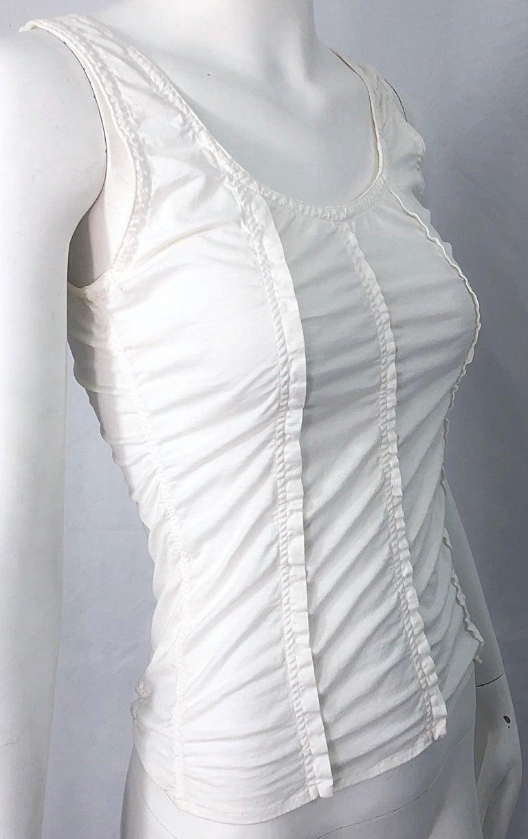 Women's Tom Ford for Yves Saint Laurent White Cotton Ruffled Tank Top Shirt Blouse YSL For Sale