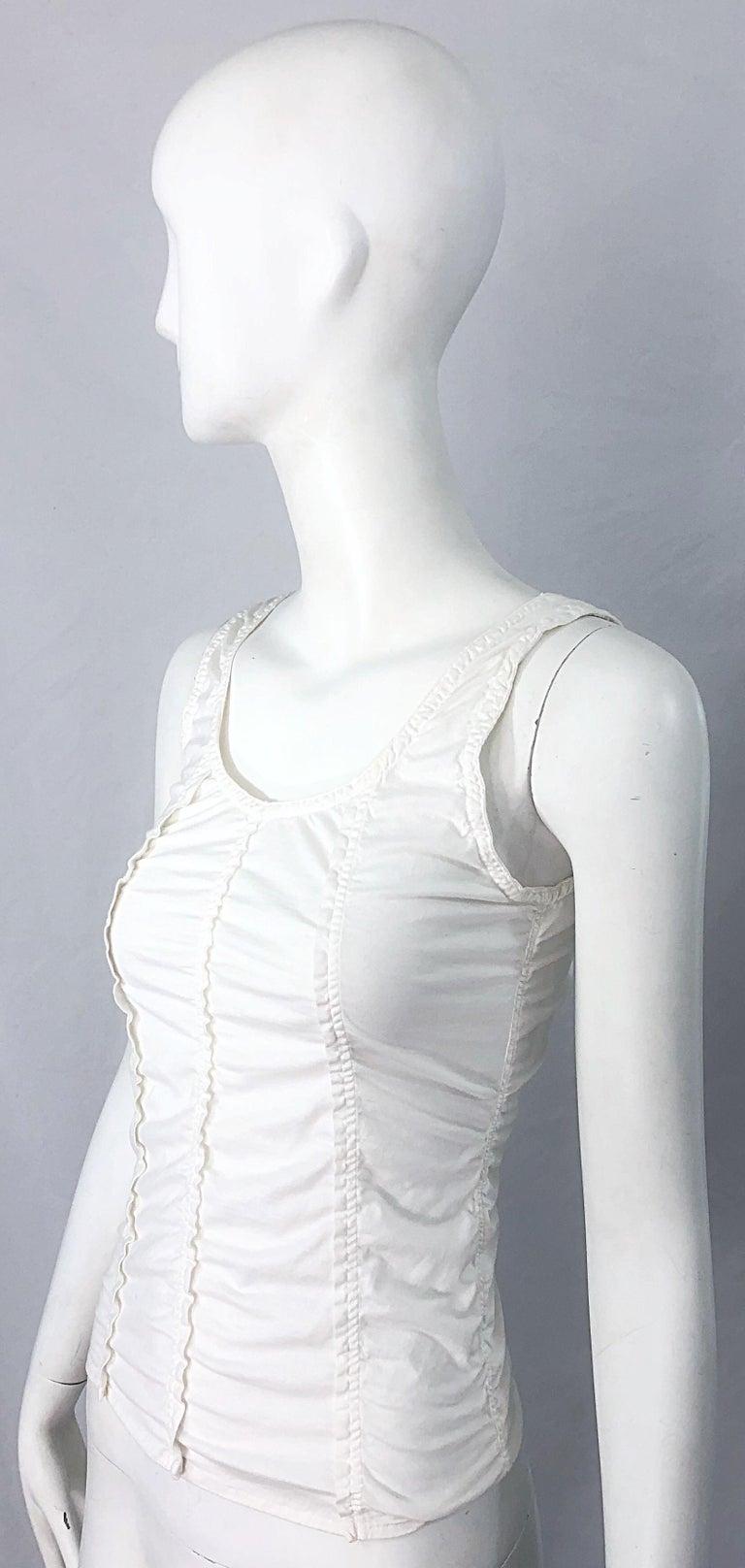 Tom Ford for Yves Saint Laurent White Cotton Ruffled Tank Top Shirt Blouse YSL For Sale 1
