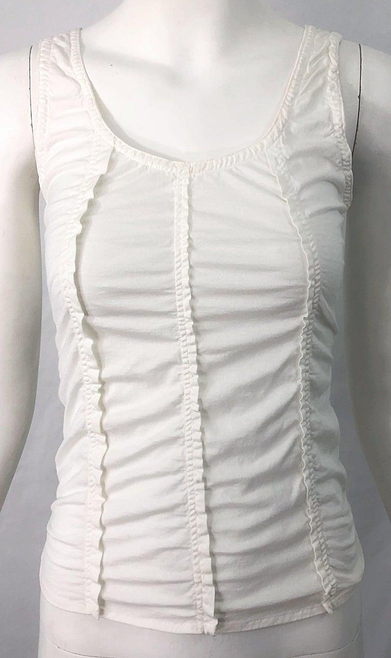 Tom Ford for Yves Saint Laurent White Cotton Ruffled Tank Top Shirt Blouse YSL For Sale 3