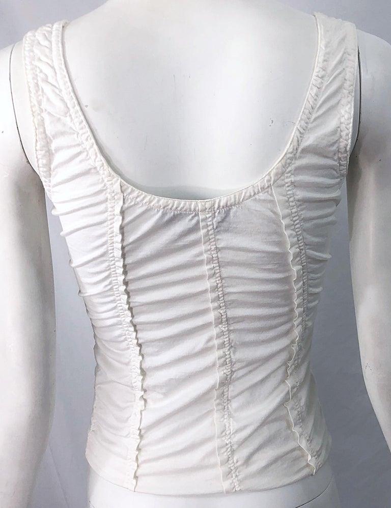 Tom Ford for Yves Saint Laurent White Cotton Ruffled Tank Top Shirt Blouse YSL For Sale 4