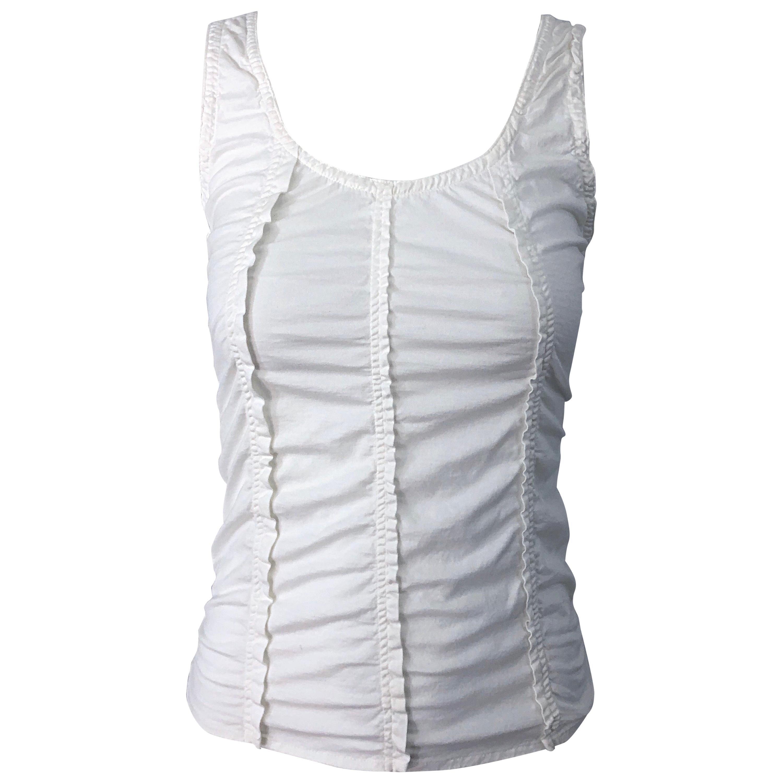 Tom Ford for Yves Saint Laurent White Cotton Ruffled Tank Top Shirt Blouse YSL