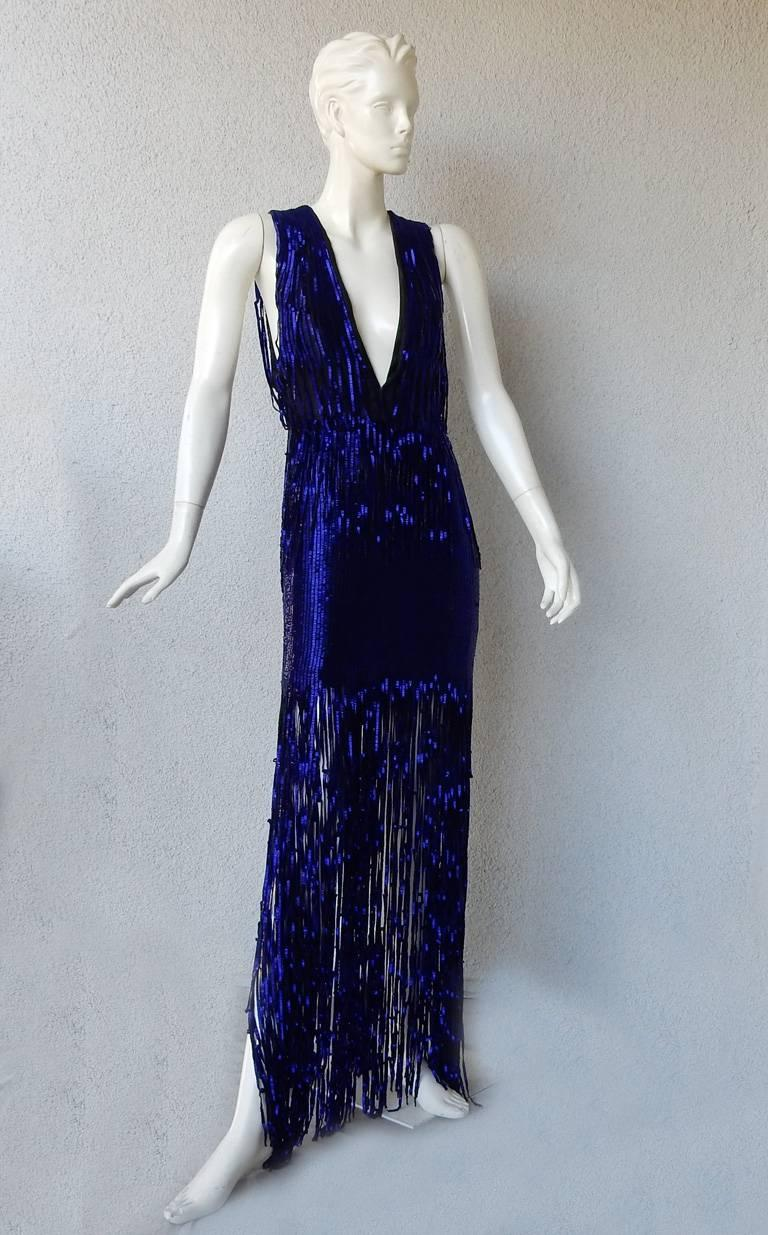 Black Tom Ford Fringe is In!  Spectacular Deco Deep Blue Plunging Evening Dress Gown  For Sale