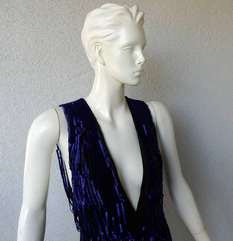 Tom Ford Fringe is In!  Spectacular Deco Deep Blue Plunging Evening Dress Gown  In New never worn Condition For Sale In Los Angeles, CA