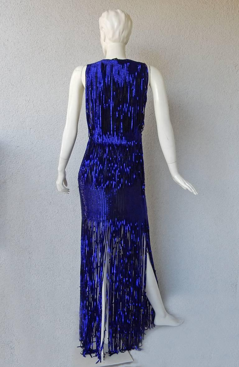 Tom Ford Fringe is In!  Spectacular Deco Deep Blue Plunging Evening Dress Gown  For Sale 1